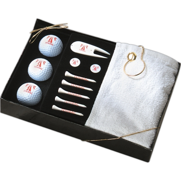 Grande - 5-15 Working Days; Standard - Classy Gift Set Of Golf Towel, Five Tees, Two Markers, Divot Tool And Golf Balls Photo