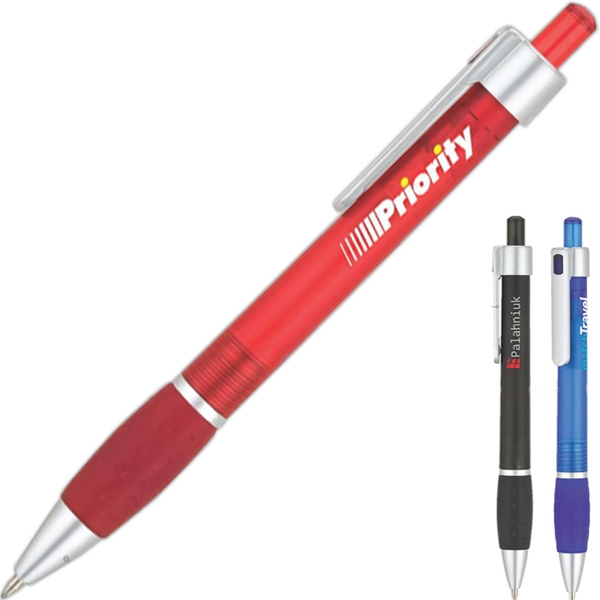 Ballpoint Pen With Colored Barrel And Soft Grip Photo