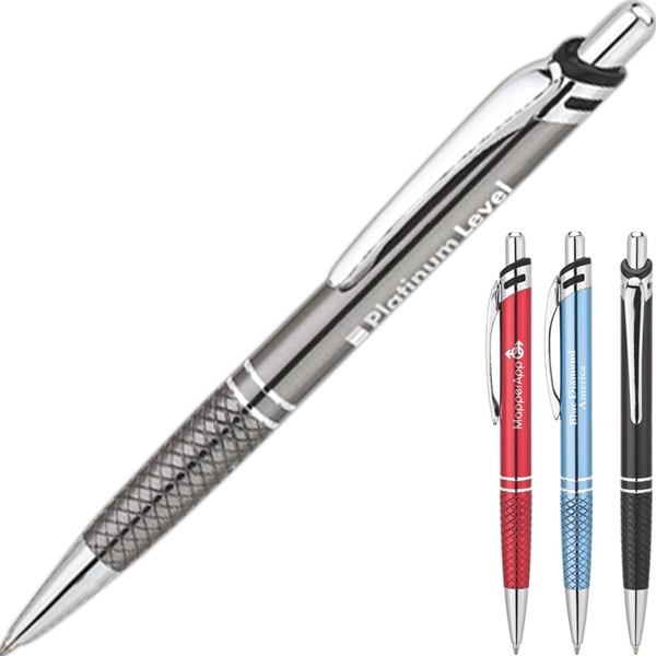 Aluminum Ballpoint Pen With Diamond Etch Design Grip Photo