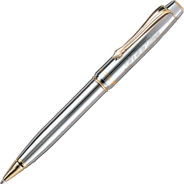 Shiny Chrome Ballpoint Pen With Gold Clip Photo