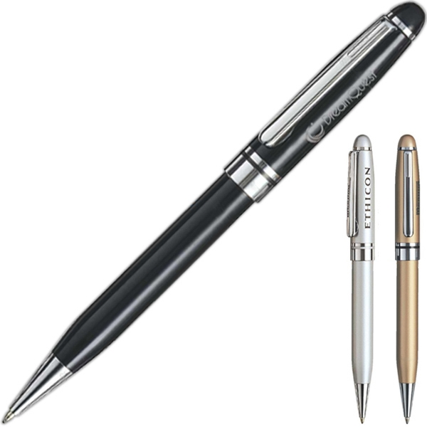 Ballpoint Pen With Matte Finish, Chrome Trim, Colored Brass Body And Cap Photo
