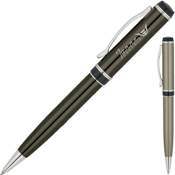 Metallic Finish Ballpoint Pen With Chrome Trim Photo
