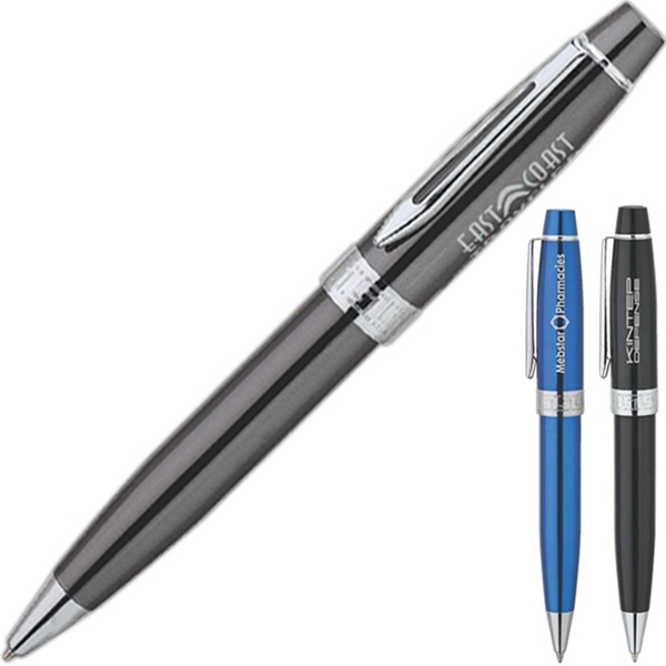 Twist Action Ballpoint Pen With Wide Body Barrel And Chrome Trim Photo