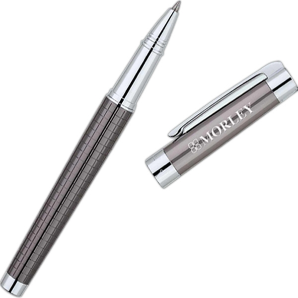 Bettoni (r) - Gunmetal Rollerball Pen With Checkered Texture Barrel Photo