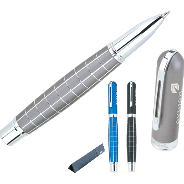 Bettoni (r) - Roller Ball Pen With Anodized Etched Grid Design Barrel Photo