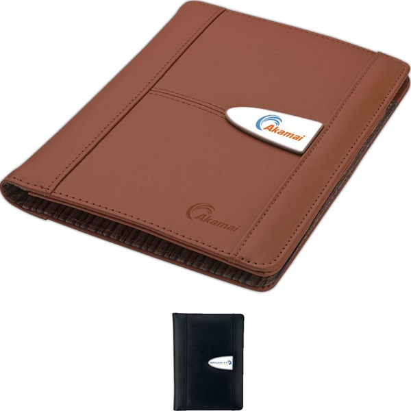 Genuine Leather Junior Size Folio With Interior Mesh Pocket And Elastic Pen Loop Photo