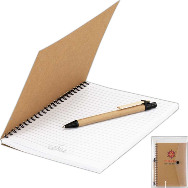 Eco-lifestyle (tm) - Junior Notebook And Pen In Transparent Snap Pouch Photo