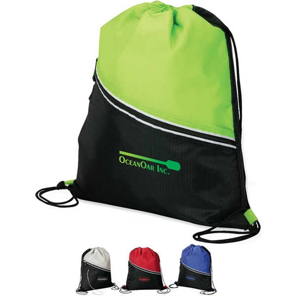 Drawstring Cooler With Zippered Front Pocket And Media Hole Photo