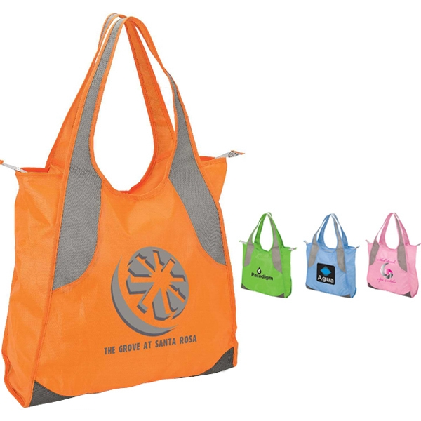 Natural Tote Bag With Diamond Pattern Handle Trim Photo