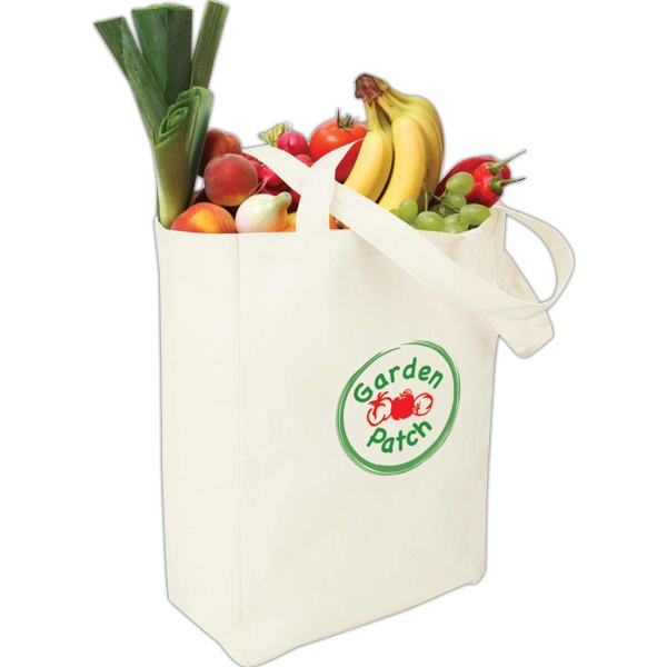 "Eco-lifestyle (tm) - Natural Canvas Tote Bag With 25"" Handles And Hook & Loop Closure Photo"