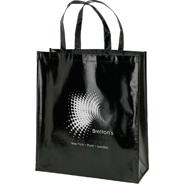 Shiny Laminate Black Tote Bag Photo