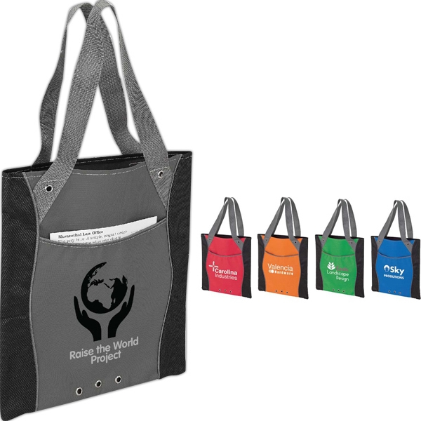 Wavy Webbing Accent Tote Bag With Diamond Non-woven Trim Photo