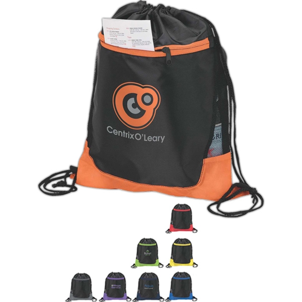 Color Splash Drawstring Sport Bag With Front Pocket Photo