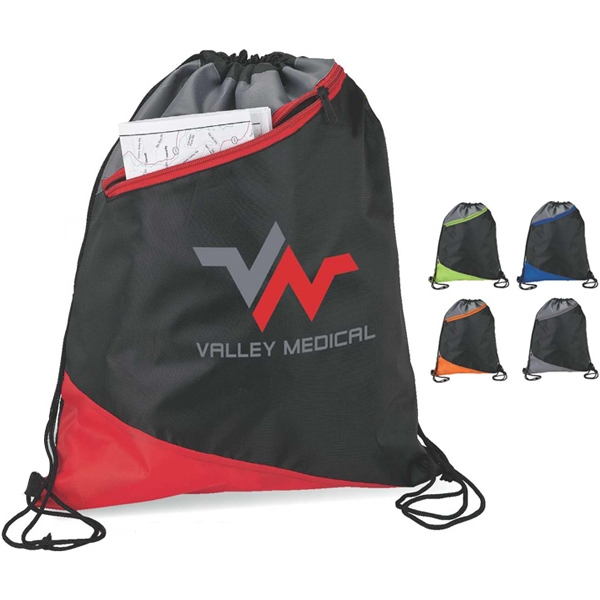 3-tone Angle Design Sport Bag With Drawstring Straps Photo