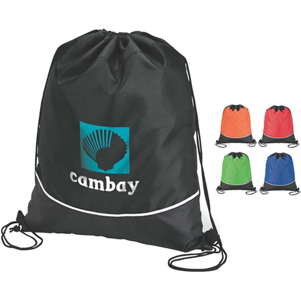 Lightweight Sport Drawstring Bag With Curved White Accent Trim Photo