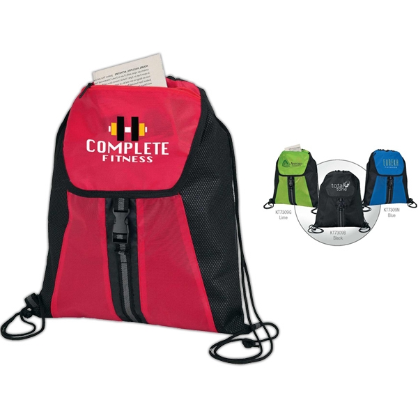 Buckled Front Pocket Drawstring Sport Bag With Zippered Pocket Photo