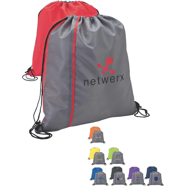 Reversible Drawstring Sport Bag With Color Stripe Photo