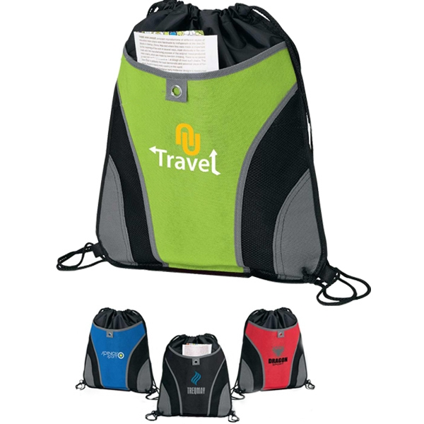 Front Pocket Drawstring Sport Bag With Accent Stitching Photo