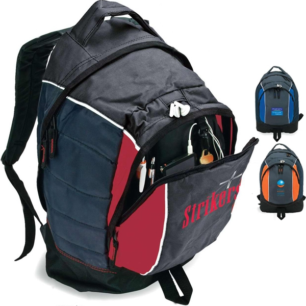 Backpack With Front Center Zip Pocket With Key Clip And Media Pocket Photo