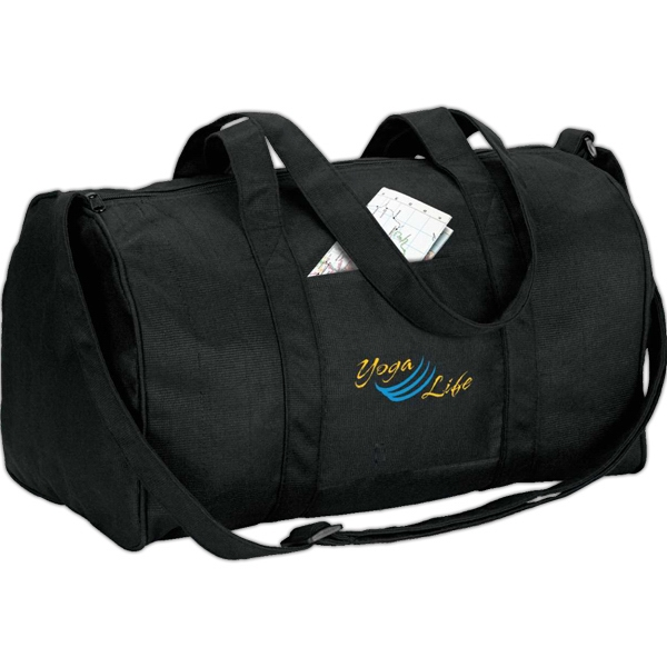 Eco-lifestyle (tm) - Recycled Duffel Bag With Handles And Adjustable Webbed Shoulder Strap Photo