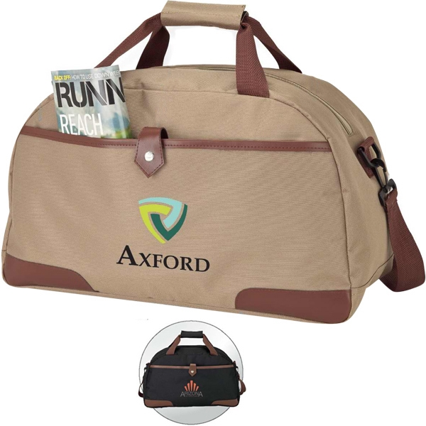 Leatherette Trimmed Duffel Bag With Carry Handles Photo