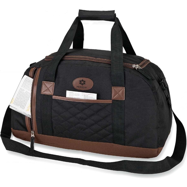 Quilted Finish Duffel Bag With Leatherette Trim And Carry Handle Photo