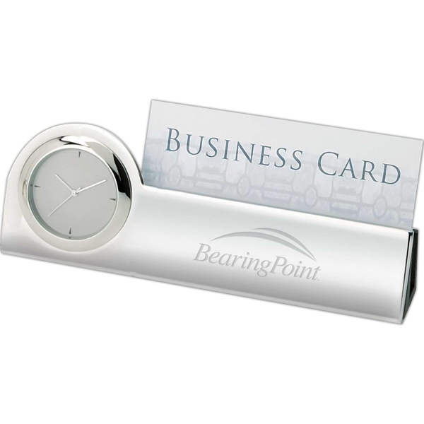 Simple Clock/business Card Holder In Tone-on-tone Silver And Chrome Photo