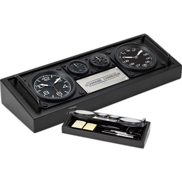 Desk Set Includes Two Clocks, Hygrometer And Thermometer Photo
