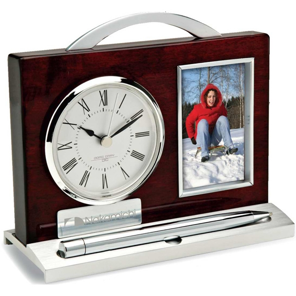 Wood And Aluminum Clock, Pen And Photo Frame Photo