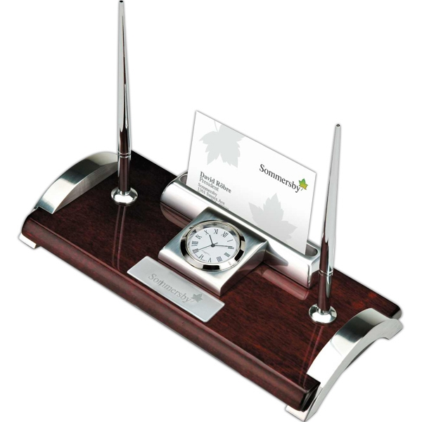 Wood And Aluminum Clock, Business Card Holder And Pen Stand Photo