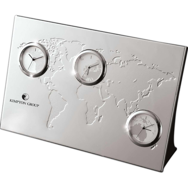 Nickel Plated 3-zone Desk Clock Photo