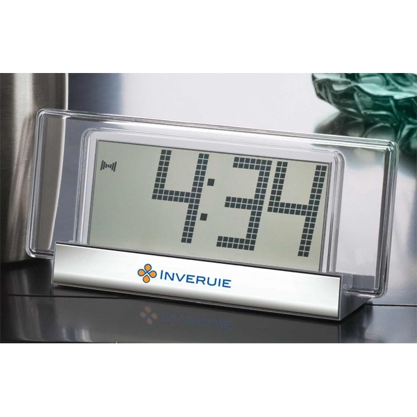 Clear Acrylic And Metal Desk Clock With Jumbo Number Display Photo