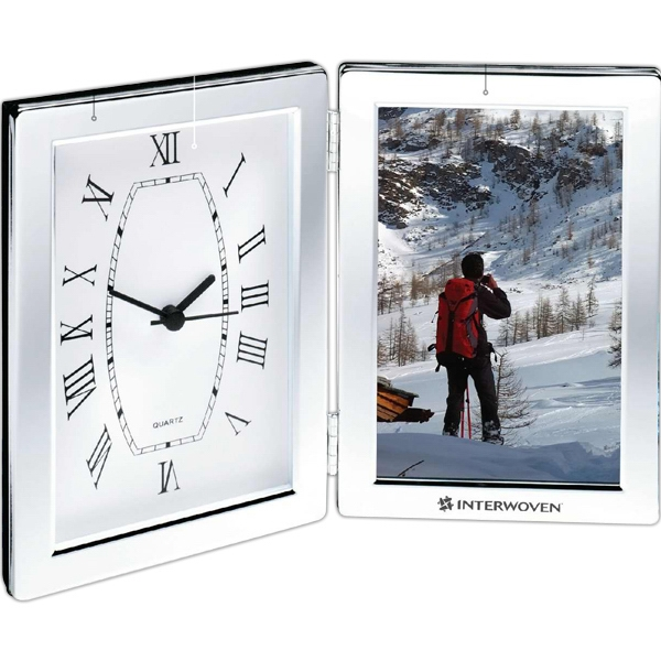 Shiny Silver Photo Frame And Hinged Clock Photo