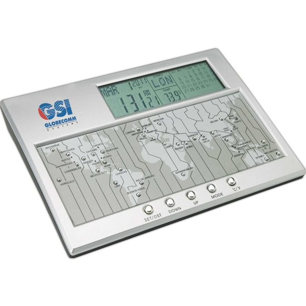 Digital World Time Clock, Calendar And Thermometer Photo