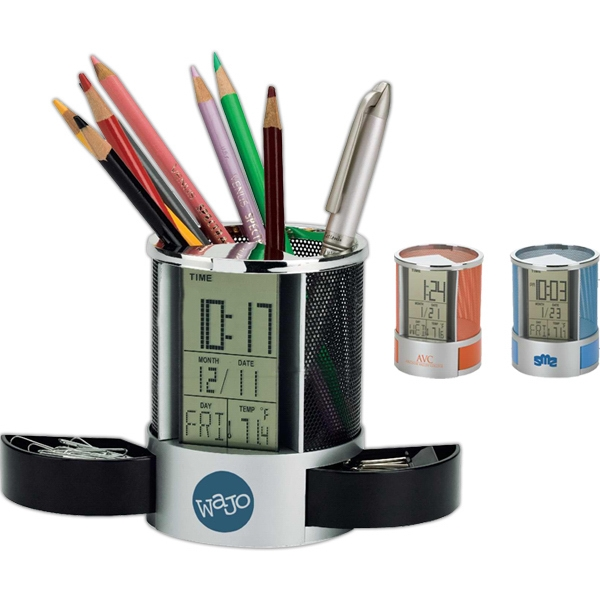 Clock/organizer With Colored Metal Mesh Pen Cup Photo