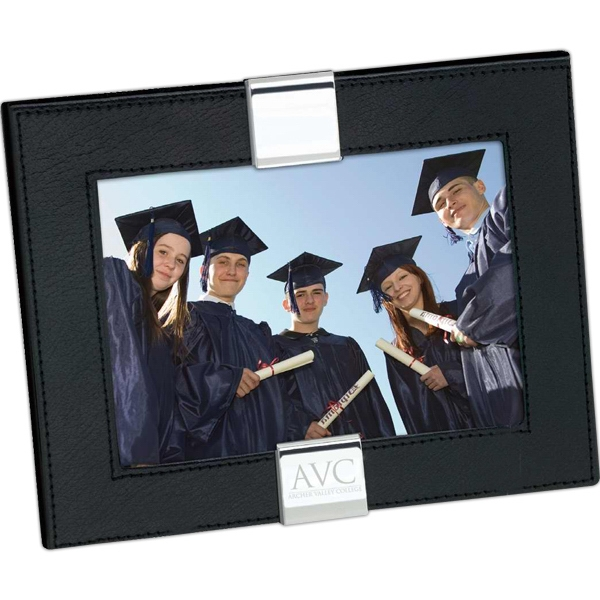 "Black Leather 7"" X 5"" Photo Frame With Chrome Accents Photo"
