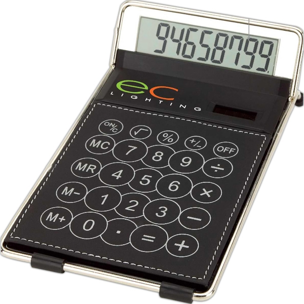 Eco-lifestyle (tm) - Classic Desk Calculator With White Contrast Stitching And Chrome Rail Trim Photo