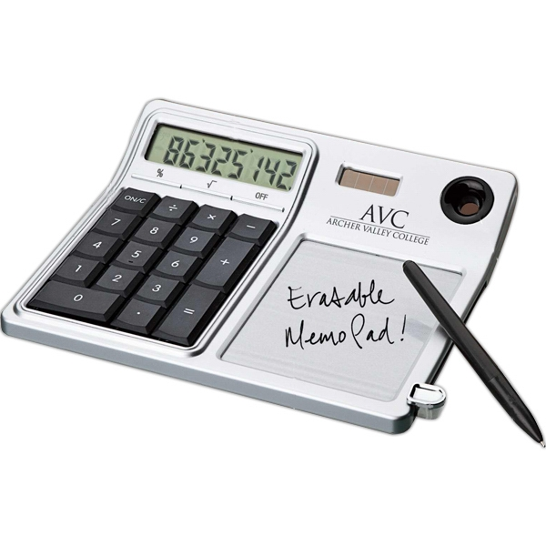 Desktop Solar Calculator And Erasable Memo Pad Photo