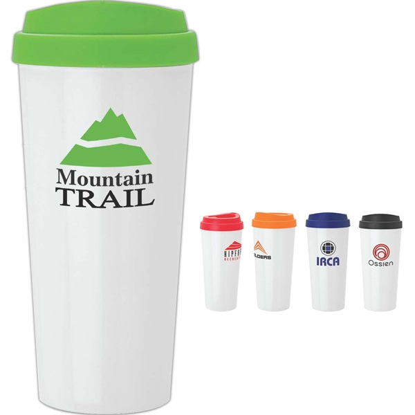 18 Oz Double Wall Polypropylene Tumbler With Colored Screw Off Lid Photo