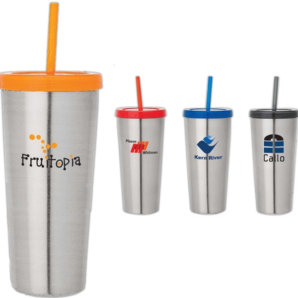 16 Oz Double Wall Steel Tumbler With Straw Photo