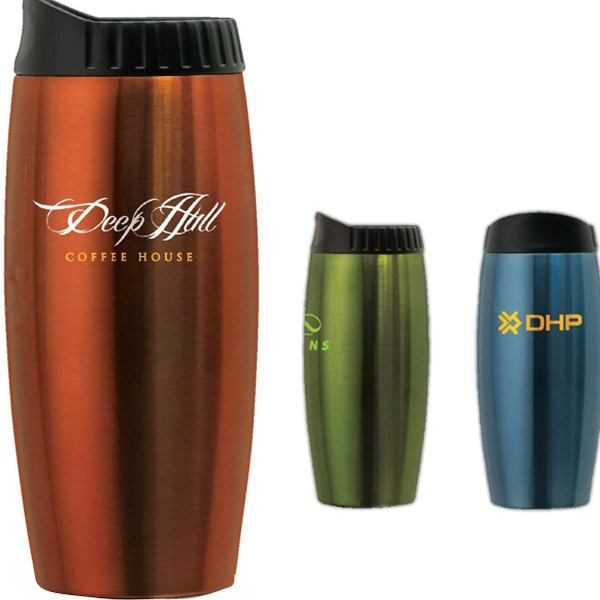 Stainless Steel Metallic Tumbler With Contoured Lid Photo