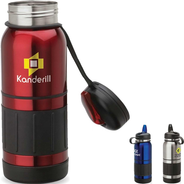 Stainless Steel Water Bottle With Safety Strap On Cap, Rubber Grip And Trims Photo