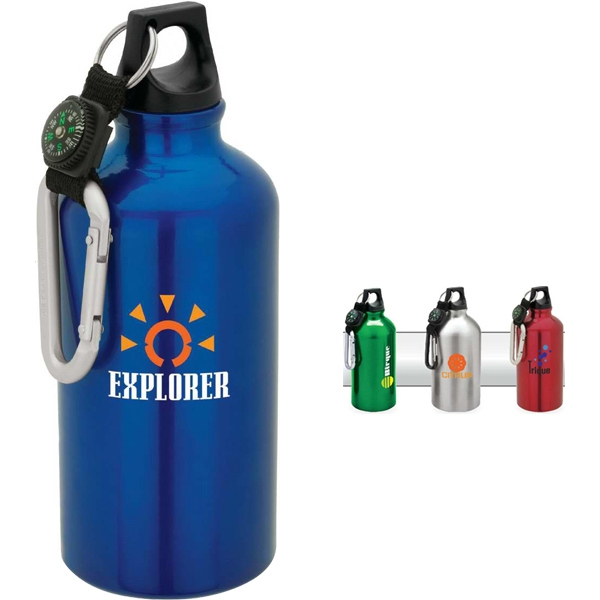 Aluminum Sport Flask With Carabiner Top With Compass And Web Strap, 500 Ml Photo