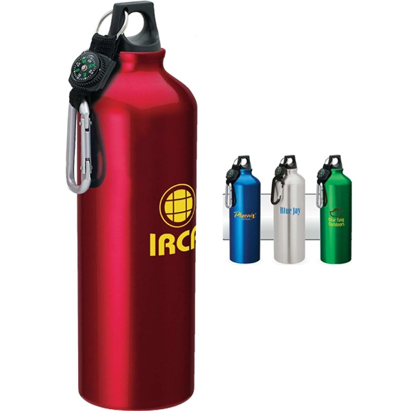 Aluminum Sport Flask With Carabiner Top With Compass And Web Strap Photo