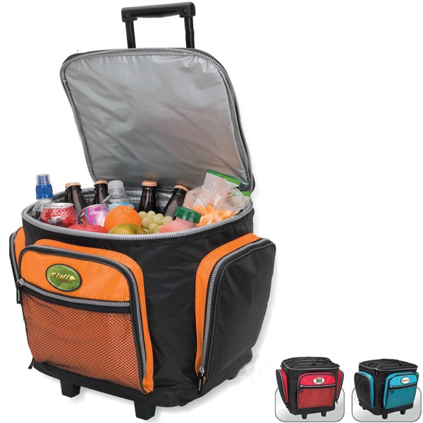 Rolling Cooler With Quad Wheels And Elastic Cord Storage On Top Photo