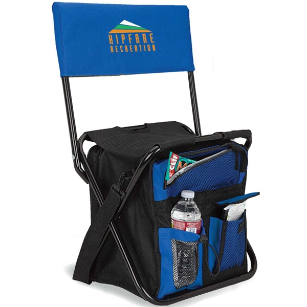 24-can folding cooler chair with back rest