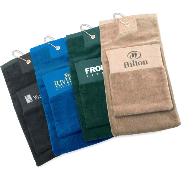 Single Fold Golf Towel With Pocket Photo