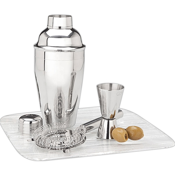 Martini Shaker Set With Jigger And Strainer Photo