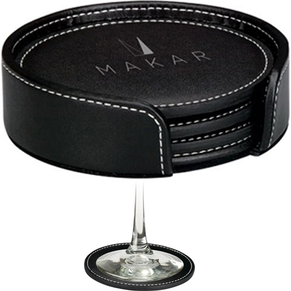 Black Leather Coaster Set With Matching Holder Photo