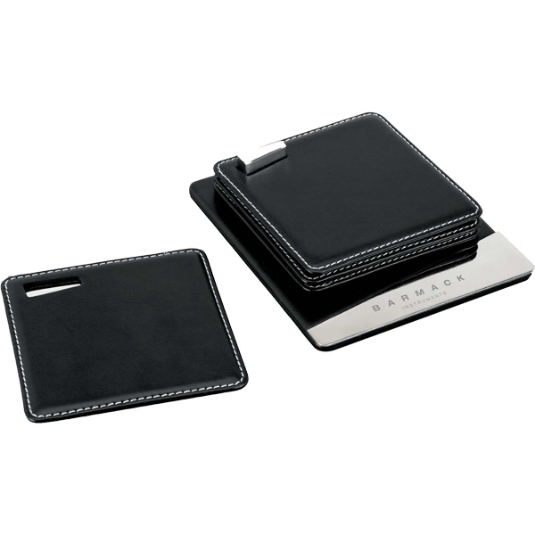 Black Leather And Chrome 4 Coaster Set With White Contrast Stitching Photo